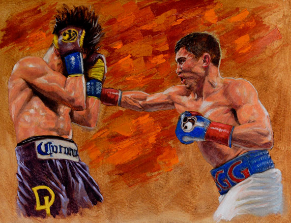Golovkin vs Lemieux Painting Original