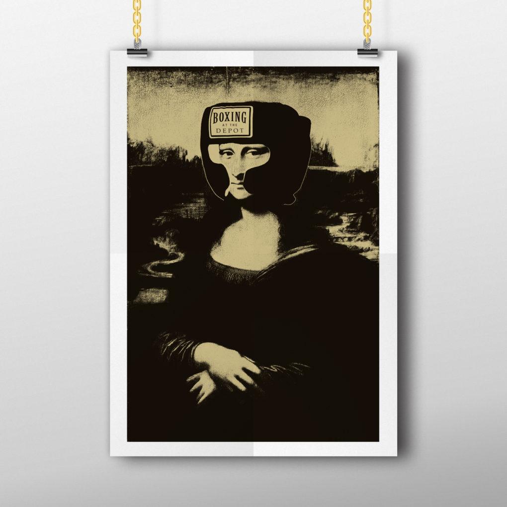 Mona Lisa Boxing Helmet Poster
